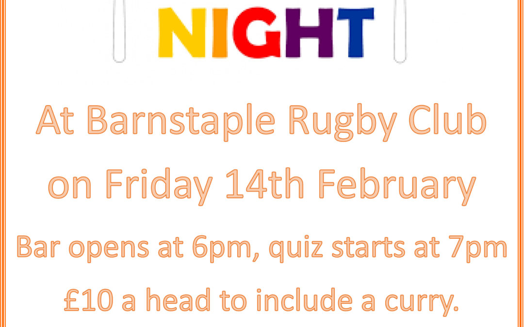 Quiz and Curry night at Barnstaple Rugby